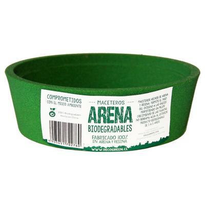Macetero redondo de fibras naturales 16X16x5 cm Verde