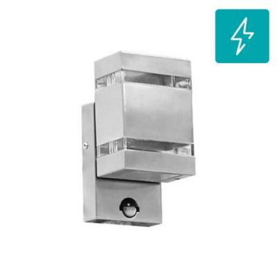 Aplique led exterior con sensor acero inoxidable plata