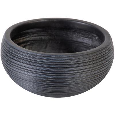 Macetero fibra round negro 28x13 cm