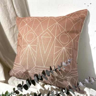 Cojín geométrico rosa lino