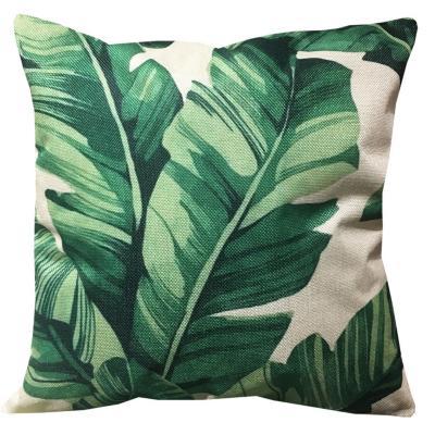 Cojín hojas verde lino