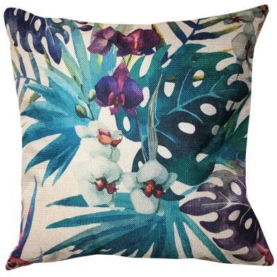 Cojín flores tropicales turquesa lino