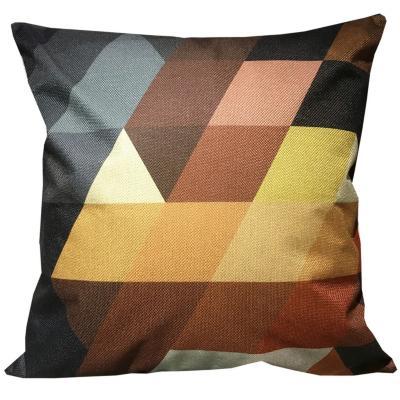 Cojín triángulos multicolor lino