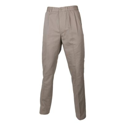 Pantalón gabardina algodón con pinzas beige 48