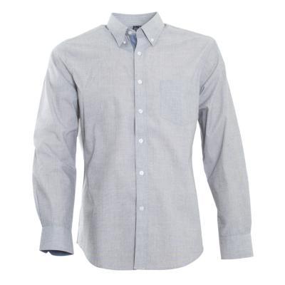 Camisa fil a fil gris medio 2XL