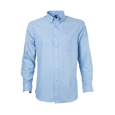 Camisa oxford con bolsillo manga larga celeste melange 2XL