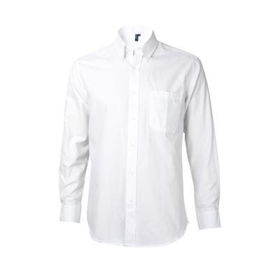 Camisa oxford con bolsillo manga larga blanco 2XL