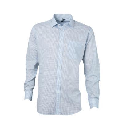 Camisa fantasía comfort manga larga azul 44