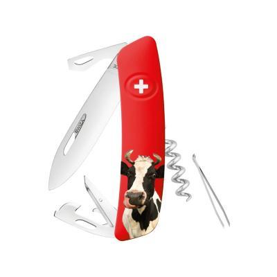 Navaja 11 funciones roja con diseño vaca