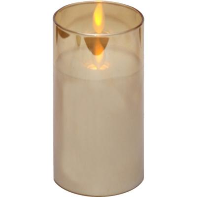 Candelabro vidrio con vela Led parpadeante 7,5x15 cm