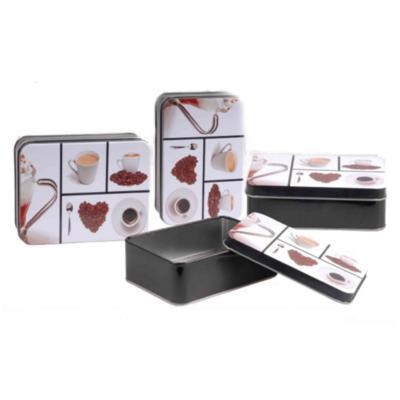 Caja lata rectangular 14,5x10x5,4cm coffe design