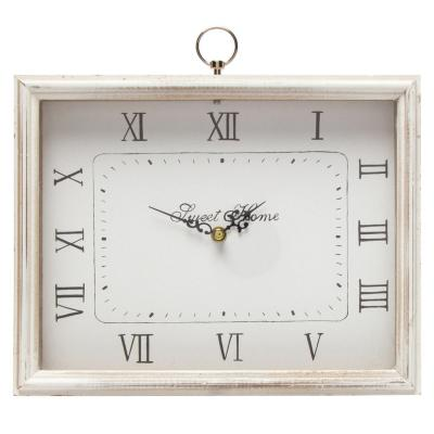 Reloj rectangular mdf 28x26x5,5 cm blanco