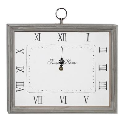 Reloj rectangular mdf 28x26x5,5 cm gris