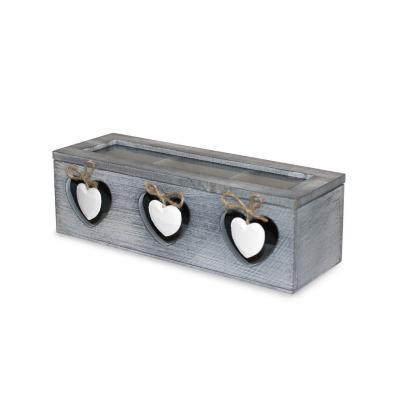 Caja de madera para té 12x9x8cm oscura