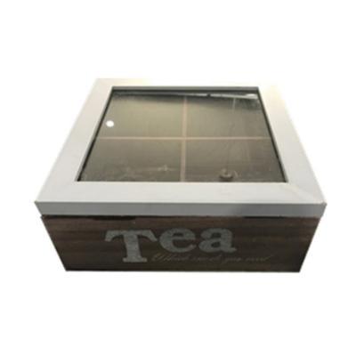 Caja de madera para té 18x18x7cm