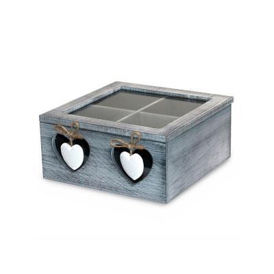 Caja de madera para té 18x18x8cm oscura