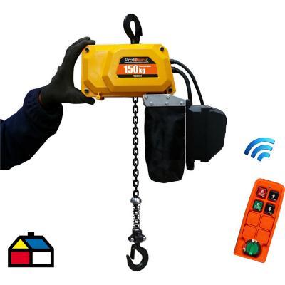 Tecle electrico mini con control remoto 150 kg 3,5m de Izaje 220v.