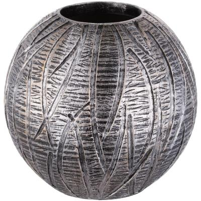 Florero esfera de resina diseño mila color plateado de 18 cm