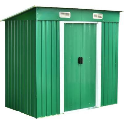 Bodega de jardín metálica 110x174x174 cm verde