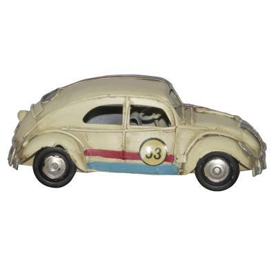 Adorno auto mini escarabajo metal crema