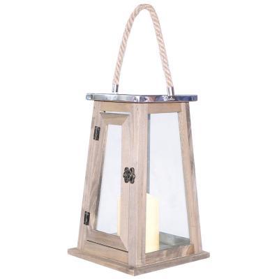 Fanal madera con vela led 18x18x29 cm natural