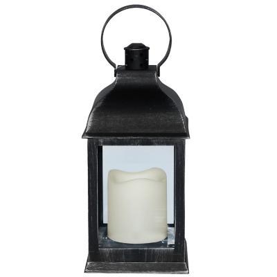 Fanal plástico con vela led 10x10x23 cm negro