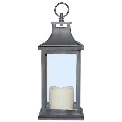 Fanal plástico con vela led 13x13x30 cm gris