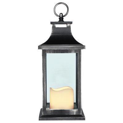Fanal plástico con vela led 13x13x30 cm negro