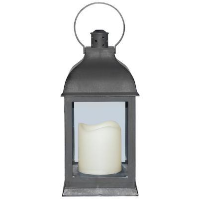 Fanal plástico con vela led 10x10x23 cm gris