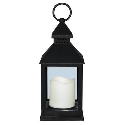 Fanal plástico con vela led 10x10x24 cm negro