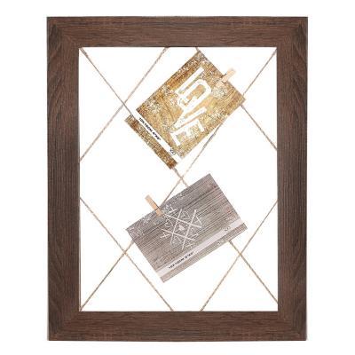 Marco fotos 30x40 madera con pinzas café medio