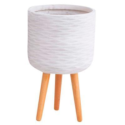 Macetero fibra blanco con patas