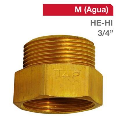 Niple Tuerca bronce 3/4 HE x 3/4 HI BSP