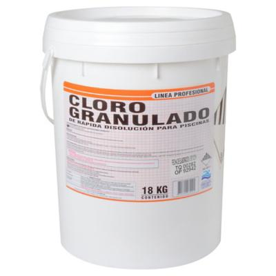 Cloro granulado para piscinas 18 kg tineta