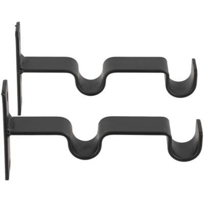 Set de soportes para barra de cortina 19 mm 2 unidades negro