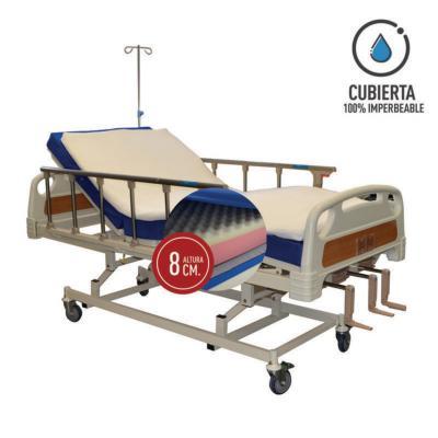 Catre clínico manual 3p/colchón pvc 8 cm/topper