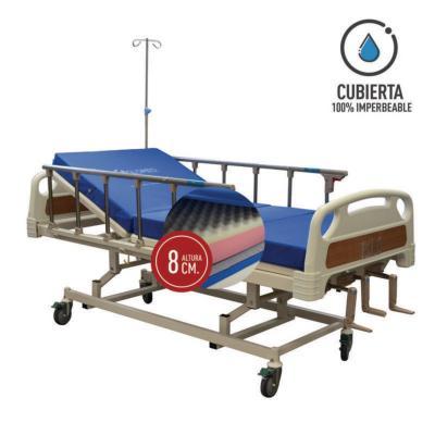 Catre clínico manual 3p + colchón pvc 8 cm
