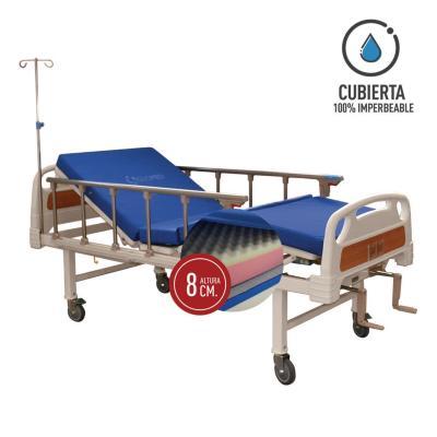 Catre clínico manual 2p + colchón pvc 8 cm