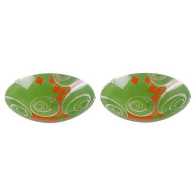 Pack 2 Plafones redondo 30 cm verde/naranja