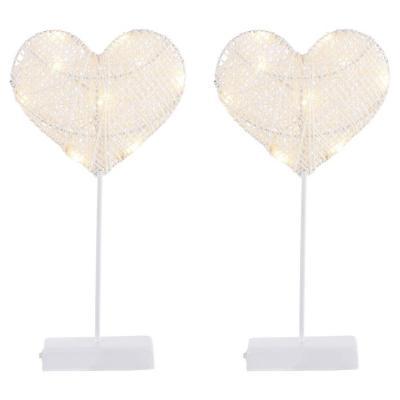 Pack 2 decoraciónes de mesa Corazón 10 luces led