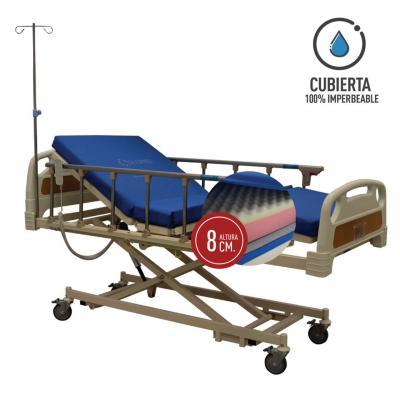 Catre clínico eléctrico+colchón pvc 8 cm