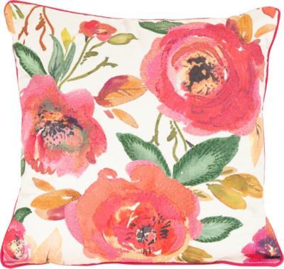 Cojín Bordado Primavera 45x45cm Naranjo/Rosa