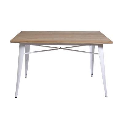 Mesa tolix de madera y metal café