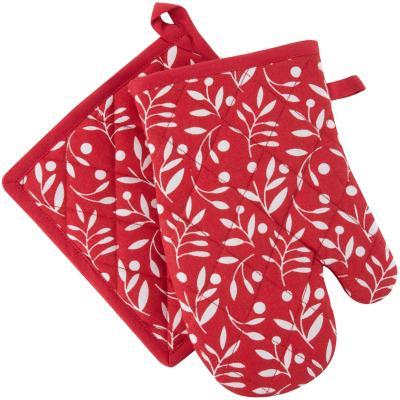 Set guante toma olla rojo viejo