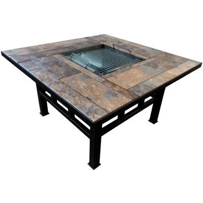 Brasero mesa con parrilla cuadrado