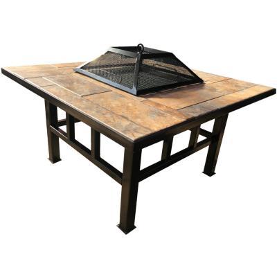 Brasero mesa con parrilla y cúpula cuadrado
