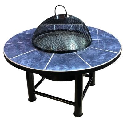 Brasero mesa con parrilla y cúpula redondo