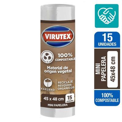 Bolsa residuos 100% compostable 45x48 15 unidades virutex