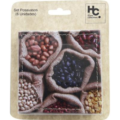 Set 6 posavasos 10x10 cm semillas