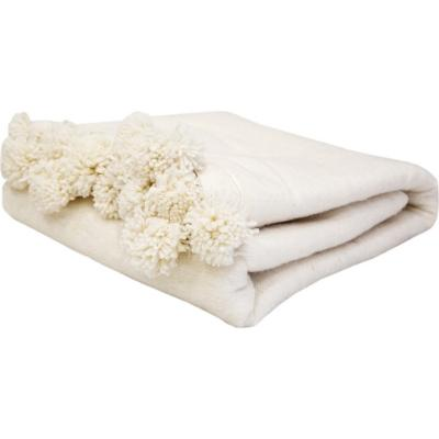 Frazada pompones Marroquí 180x280 cm lana de oveja